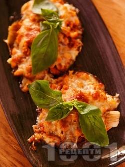 Пълнени гъби с бял боб (фасул) и сирене моцарела (или кашкавал), запечени на фурна - снимка на рецептата